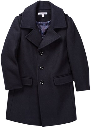 Isaac Mizrahi Single Breasted Wool Blend Overcoat (Toddler, Little Boys & Big Boys)