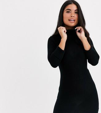 Brave Soul Petite mandy roll neck sweater dress in black