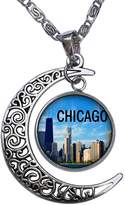 GiftJewelryShop Chicago Crescent Moon Galactic Universe Glass Cabochon Pendant Necklace