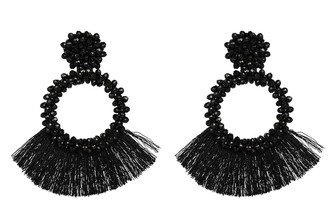 Goodnight Macaroon 'Carras' Beaded Tassels Drop Earrings (5 Colors)