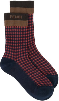 Fendi Gingham Jacquard Socks