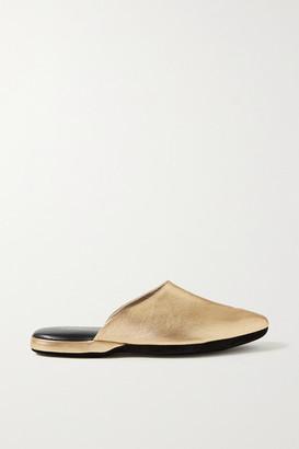 Charvet Metallic Textured-leather Slippers - Gold