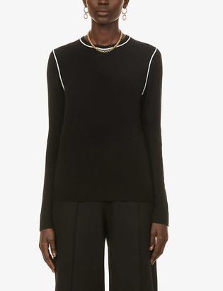 Theory Contrast-trim cashmere jumper