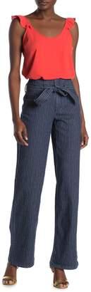 Rachel Roy Pinstripe Tie Waist Wide Leg Jeans
