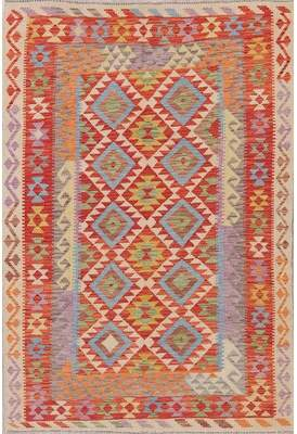"""Rugsource One-of-a-Kind Turkish Persian Handwoven Flatweave 5'5"""" x 7'8"""" Wool Red Geometric Area Rug Rugsource"""