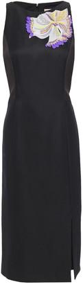 Emilio Pucci Embellished Embroidered Wool-blend Twill Midi Dress
