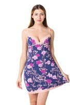 LOVE STORY LINGERIE Flower Print Nightgown Satin Chemises Slip Lace Lounge (M, )
