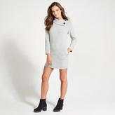 Apricot Grey Waffle Knit Tunic Dress