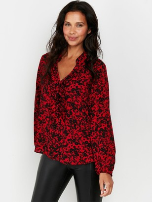 Wallis Shadow Ditzy Floral Frill Top - Red