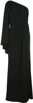 Tadashi Shoji pleated one-shoulder gown