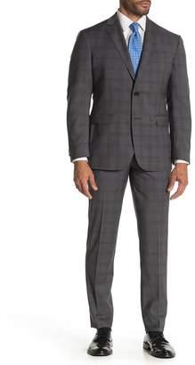 Ted Baker Jarrow Grey Windowpane Two Button Notch Lapel Wool Slim Fit Suit