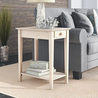 Beachcrest Home Wembley Solid Wood 4 Legs 1 Drawer End Table Color: Unfinished