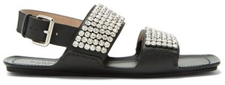 Gucci Sonique Crystal-encrusted Leather Sandals - Black