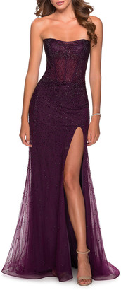 La Femme Strapless Beaded Tulle Dress with Thigh Slit