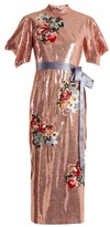 Erdem Emery floral-embroidered sequin dress