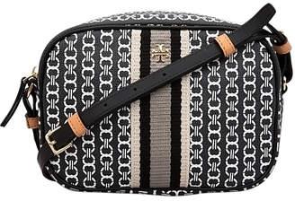 Tory Burch Women's Handbags Black - Black Gemini Link Mini Canvas Crossbody Bag