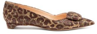 Rupert Sanderson Aga Point-toe Leopard Raffia Flats - Brown Multi