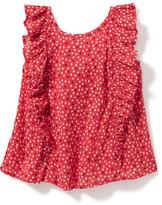 Old Navy Ruffle-Trim Heart-Patterned Swing Top for Toddler