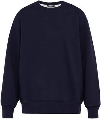 Calvin Klein Logo Embroidered Cut Out Cotton Sweatshirt - Mens - Navy