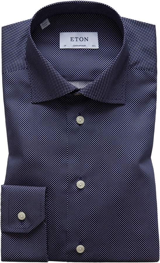 Eton Contemporary Fit Signature Polka Dot Dress Shirt