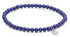 Sydney Evan Men's Baby Hamsa 14K White Gold, Diamond, Sapphire & Lapis Pendant Beaded Bracelet