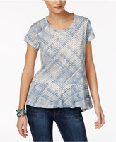 Style&Co. Style & Co Petite Cotton Plaid Peplum Top, Only at Macy's