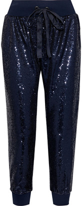 Cinq à Sept Giles Cropped Sequined Jersey Track Pants