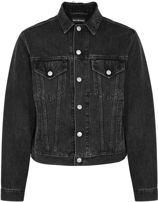 Balenciaga Grey logo-embroidered denim jacket