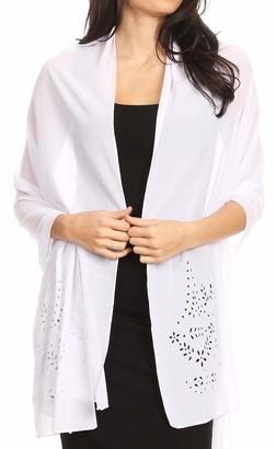 Sakkas 18224 - Naomi Women Soft Sheer Embellished Chiffon Bridal Wedding Scarf Shawl Wrap - LaserCut-white - 7029