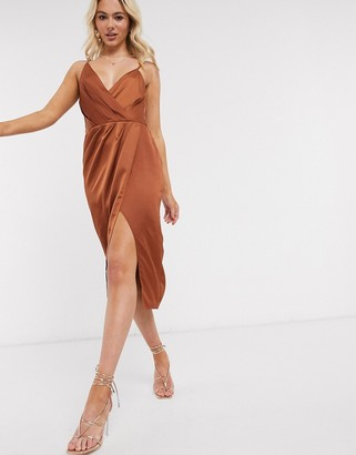 Little Mistress satin wrap dress in rust