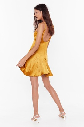 Nasty Gal Womens So Vain Satin Dress - Mustard