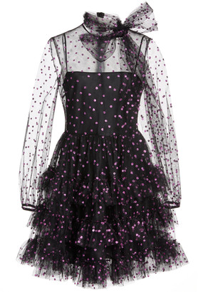 RED Valentino Glittered Polka-Dot Organza Mini Dress