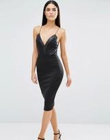 AX Paris V Neck Midi Cami Dress With Pu Panels