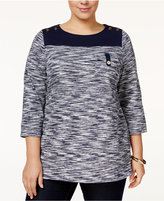 Charter Club Plus Size Space-Dyed Top, Only at Macy's