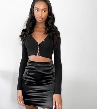 Parisian Tall satin mini skirt in black
