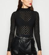 New Look Mesh Stripe High Neck Bodysuit