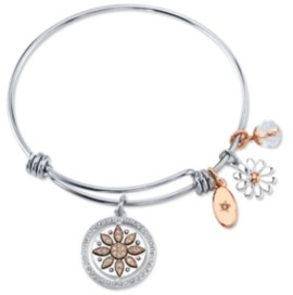 "Unwritten Live Laugh Love"" Flower Bangle Bracelet in Stainless Steel & Rose Gold-Tone"