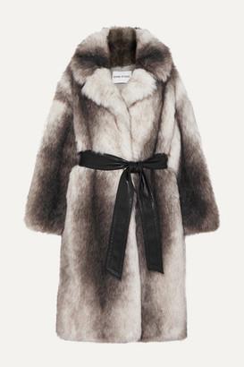 Stand Studio Pernille Teisbaek Clara Oversized Belted Faux Fur Coat - Gray