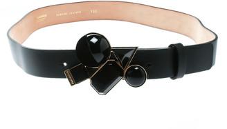 DSQUARED2 Black Leather Buckle Embellished Belt Size 100 CM