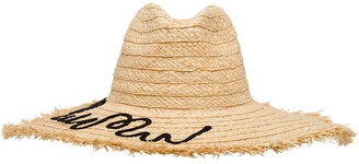 Miu Miu embroidered logo fringed hat