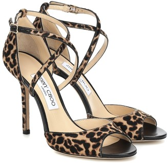 Jimmy Choo Emsy 100 leopard-print calf-hair sandals