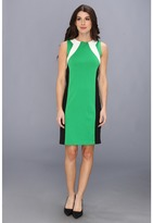 Calvin Klein Sleeveless Ponte Cable Knit Dress (Verde) Women's Dress
