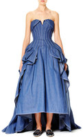 Carolina Herrera Strapless Denim Ball Gown, Blue