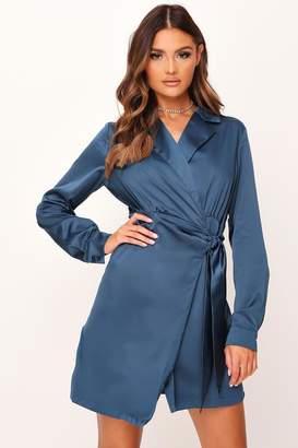 I SAW IT FIRST Blue Tie Front Satin Shirt Dress