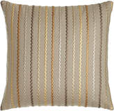 """Square Feathers D'Or Stripes Pillow, 22""""Sq."""