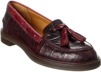 Reiss Farah Croc-Embossed Leather Loafer