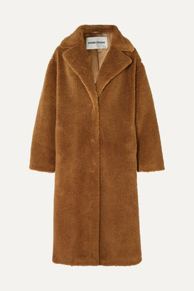 Stand Studio Maria Cocoon Oversized Faux Shearling Coat - Brown