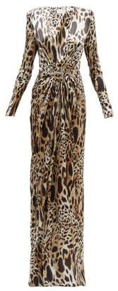 Alexandre Vauthier Crystal-embellished Lynx-print Silk-blend Gown - Womens - Leopard