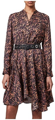 AllSaints Martina Ambient Dress (Brown) Women's Clothing