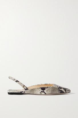 Jimmy Choo Gini Snake-effect Leather Slingback Flats - Snake print